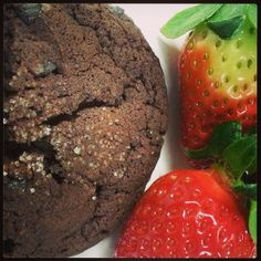 1/9/14 - Natural - My all natural snack!  Organic strawberries and Divvy's all-natural chocolate brownie cookie