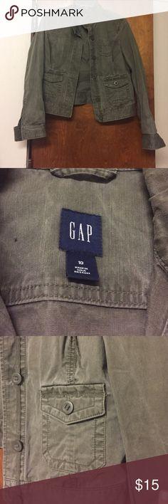 GAP Bomber Jacket Very heavy duty, army green bomber jacket. Light wear but it was like that when I bought it. The size is a 10 but it wears like a medium sized jacket. GAP Jackets & Coats Jean Jackets