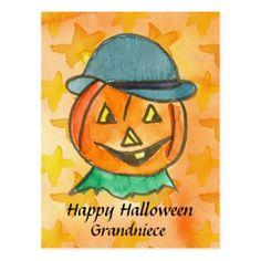 Happy Halloween Grandniece Jack-O-Lantern Custom Postcard - postcard post card postcards unique diy cyo customize personalize