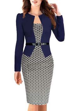 OL Style Women's Round Collar Argyle Long Sleeve Faux Twinset Dress #busniess