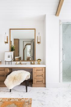 The perfect glam spot tucked into the master bath Design by - Nicole Davis Interiors photo by - AlyssaRosenheck Bathroom Interior Design, Home Interior, Decor Interior Design, Interior Decorating, Design Hall, Design Design, Design Ideas, Clean Design, Design Trends