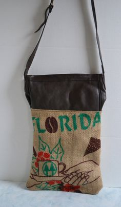 Burlap and Leather Tote  Bag  Repurposed Coffee by Liquidshiva, $70.00