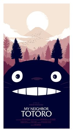 """Artist Olly Moss has teamed up with Mondo Tees to bring us this great poster art design for the classic Studio Ghibli film directed by Hayao Miyazaki, My Neighbor Totoro."""