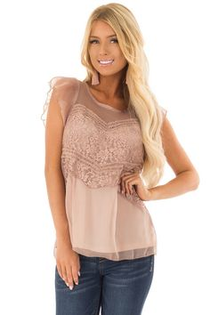 5d95f0f47 Lime Lush Boutique - Mocha Blouse with Lace Detail and Keyhole Back