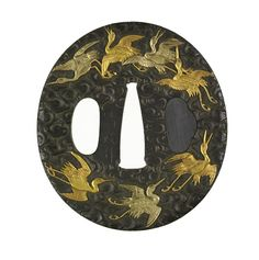Tsuba with Cranes Flying over Waves