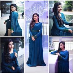 New wedding guest outfit blue bridal parties Ideas Indian Wedding Gowns, Indian Gowns Dresses, Prom Dresses, Saree Gown, Lehnga Dress, Lehenga, Bride Reception Dresses, Gown Party Wear, Indian Party Wear