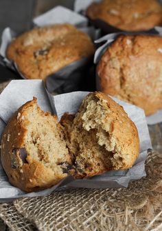 Chunky Monkey Muffins | 1/4c of butter & 1/3c of peanut butter for 5 muffins
