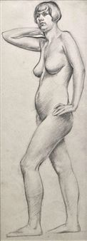 View Female Nude Drawing By John Luke; Access more artwork lots and estimated & realized auction prices on MutualArt. John Luke, Nude, Statue, Female, Drawings, Artwork, Work Of Art, Auguste Rodin Artwork, Sketches