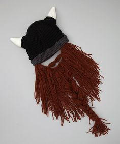 Take a look at this Black & Brown Barbarian Pillager Beard Beanie by Beard Head on #zulily today!