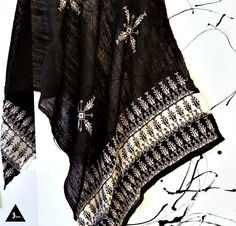 Black and white. A very clear choice that causes no confusion.  hand- embroidered scarf, made with love in #Jordan