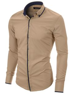 MODERNO Slim Fit Mens Casual Button-Down Shirt (MOD1445LS) Beige FREE worldwide shipping! 30 days return policy