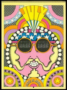 JULY Psychedelic Hallmark Calendar, 1970 - 7/71 by MewDeep, via Flickr