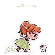 Chibies of Disney's Ariel & Flounder , Merida & Will O' the Wisp , Anna & Snowgie. https://www.facebook.com/artofdavidgilson/