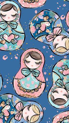 Flowers Print Wallpaper Illustrations New Ideas Tumblr Backgrounds, Wallpaper Backgrounds, Iphone Wallpaper, Image Deco, Matryoshka Doll, Kokeshi Dolls, Print Wallpaper, Pattern Illustration, Illustrations
