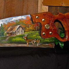 Fall Log Cabin with Deer Handsaw | Joyces Creative Country