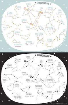Constellations for Kids Worksheets Printable Summer Constellation Map Mr Printables Mr Printables, Free Printable, Worksheets For Kids, Activities For Kids, Space Activities, Constellation Craft, Colegio Ideas, Maps For Kids, Charts For Kids