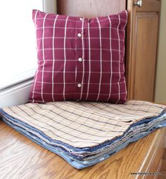 Thirteen memory pillowsmade from old button-down shirts. My customer's father died and she asked me to make these for her mother and the grandchildren. I think this will be such a meaningful…