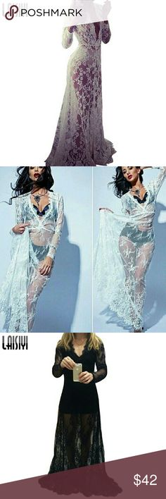 """Deep V Neck Lace Negligees Black M/L or White SM/M Read Measurements!! 0RDER BY YOUR MEASUREMENTS.   BLACK MEASUREMENTS, BUST-PIT TO PIT LAYING FLAT- 19"""", Under Bust Elastic 14"""" unstretched 16"""" Stretched. HIPS APPROX 22"""". BOTTOM SWEEP 38-40"""" LENGTH- 66"""".    WHITE MEADUREMENTS- BUST 19. Elastic in stretched 15"""" stretched. 13 in stretched. Hips 22, length approx 66.  Sweep 38-40""""  Swim cover up or Negligee LAISIYI Swim Coverups"""