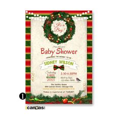 Wreath Baby Shower Invitation, Rustic, Holiday Baby Shower, Holiday Christmas Wreath, Shabby Chic, String Light Invite, Christmas Robin 119 by 800Canvas on Etsy
