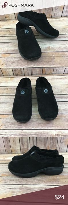 Merrell Primo Chill Suede Mules Clogs Shoes Merrell Primo Chill Slide Black Suede Mules Clogs Women's Shoes Size US 6 EUR 36. Some scuffs good preowned Condition minor signs of wear. Merrell Shoes Mules & Clogs