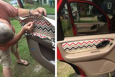 Sewing Ideas DIY Cars Hacks : Illustration Description Grosgrain: Custom Fabric Car Door Panels How-To Life Hacks, House Hacks, Love Presents, Chevron Azul, Kangoo Camper, Car Interior Decor, Ford Interior, Car Interior Design, Cute Car Accessories