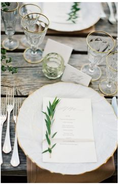 Flatware.  White with gold edging