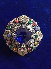 винтажный стиль арт деко чешский Арлекин синий камень серебристого тона брошь-срд невеста