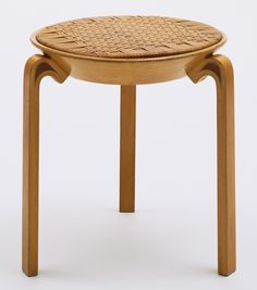 Stool (no. Alvar Aalto (Finnish, Solid and laminated wood and rattan, 17 x 17 Manufactured by Oy Huonekalu-ja Rakennustyötehdas Ab, Turku, Finland. Vintage Furniture, Furniture Decor, Furniture Design, Nordic Design, Scandinavian Design, Scandinavian Chairs, Bauhaus, Rattan Stool, Swivel Chair