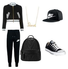"""""""school outfit"""" by alexistomboy on Polyvore featuring Moschino, NIKE, Converse and Sydney Evan"""