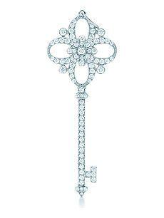 TIFFANY & CO Tiffany Keys floret key pendant in platinum with diamonds