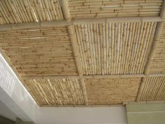 On the Caribbean island of Mustique, interior designer Veere Grenney has redesigned a bamboo house that is a study in neutrals and natural materials, set off by the green of the palms outside and the glorious blue of the ocean. Bamboo Roof, Bamboo Ceiling, Bamboo Fence, Ceiling Design Living Room, Living Room Designs, Bamboo Furniture, Furniture Design, Bamboo House Design, Deco Restaurant