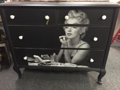 Forever Young -- Sally Azzato Makes an Old Dresser New Again using Midnight Sky. Painting Plastic Chairs, Fabric Painting, Chalk Painting, Diy Furniture Tutorials, Furniture Ideas, White Painted Furniture, Refurbished Furniture, Marilyn Monroe Poster, Solid Wood Dresser