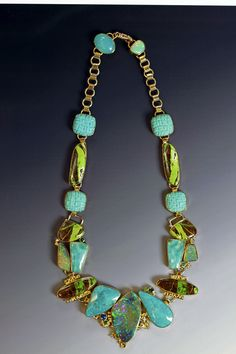 """Atlantis""  Boulder opal necklace with turquoise, gaspite, chalcedony, tsavorite, topaz and diamond in 22k & 18k.  by Jennifer Kalled; boulder opal from Bill Kasso."