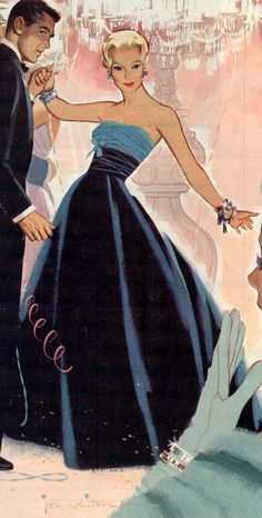 Shall we dance?illustration by Jon Whitcomb. Vintage Romance, Vintage Glamour, Vintage Love, Vintage Ads, Vintage Images, Illustration Mode, Magazine Illustration, Fashion Art, Vintage Fashion
