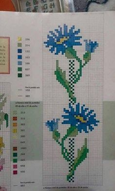 Cross Stitch Flowers, Mittens, Bookmarks, Crafty, Pattern, Handmade, Blue Carnations, Crochet Flowers, Cross Stitch Embroidery