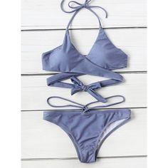 Halter Wrap Bikini Set (29 BRL) ❤ liked on Polyvore featuring swimwear, bikinis, swimsuits, blue, bikini swimsuit, bathing suits bikini, halter swimsuit tops, halter bikini tops and bathing suits two piece