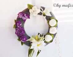 Door wreath spring wreath table decoration felt wreath by mafiz