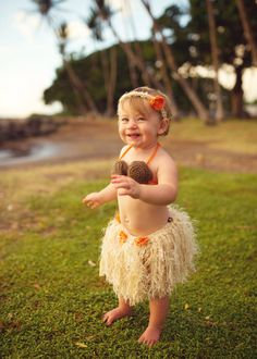 Baby Girl or Toddler Hawaiian HULA Dancer Island Photo Prop- Grass Skirt Coconut Bra and Flower Hairclip - Made to Order PLAN Ahead on Etsy, $59.95