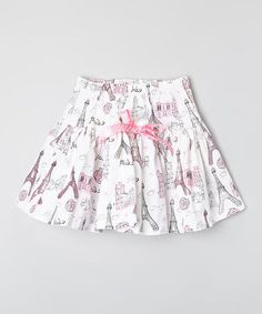 Look at this Carolina Kids Pink & White Eiffel Tower Ribbon Skirt - Infant, Toddler & Girls on #zulily today!
