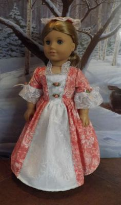 Crystal Rose Gown set for American Girl Felicity and Elizabeth
