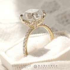This custom design engagement ring showcases a scalloped pave basket that make the stone pop even more. Personalized Jewelry, Custom Jewelry, Design Process, Wedding Bands, Heart Ring, Custom Design, Jewelry Design, Basket, Bling