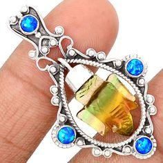 Lord-Ganesha-Multi-Fluorite-925-Sterling-Silver-Pendant-Jewelry-SP192016