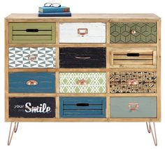 Kommode Georgia im Vintage Stil Wooden Drawers, Dresser Drawers, Cool Furniture, Painted Furniture, Living Room Decor, Bedroom Decor, Flat Ideas, Sweet Home Alabama, Home Projects