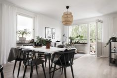 Dining area, livingroom, llack and white interior, grey scale