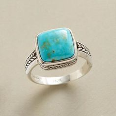 PRAIRIE SKY RING - A gem as vast and blue as the prairie sky in a sterling silver and turquoise ring with down-to-earth cool. Exclusive. Whole and half sizes 5 to 9.