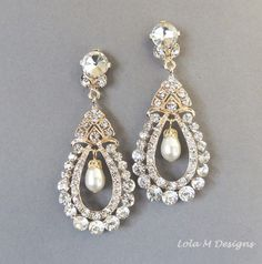 Bridal earrings , Vintage Inspired Swarovski pearl Gold chandelier earrings, Wedding accessory, Wedding Jewelry  - style CE 11 on Etsy, $69.00