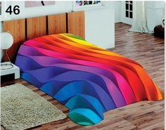 Kolorowy koc na łóżko z motywem tęczy