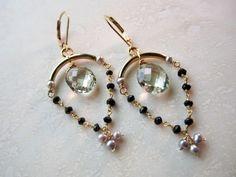 Lisa Chandler Jewelry — Prasiolite, Pearl, Black Onyx, 14K Gold-Filled Chandelier Earrings -- One-of-a-Kind (F904)