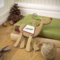 Painted Wooden Reindeer Christmas Tree Decoration