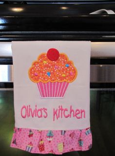 Child Size cupcake tea towel in bright orange and by WindaBobbin, $14.00